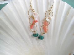 Puka Shell Coral Turquoise Earrings Beachy Earrings by debbyhawaii