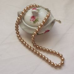 Vintage pearl necklace, short pearl necklace, faux pearl women's vintage jewellery. - pinned by pin4etsy.com