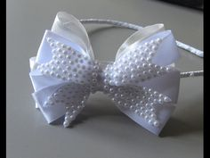 Laço de gorgurao com maia perolas e strass- Ribbon Bow -DIY - YouTube