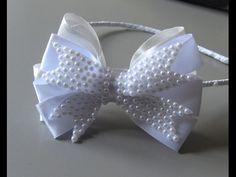 Laço de fita de  Fita Gorgurão Najar e  meia perolas -Ribbon Bow - YouTube