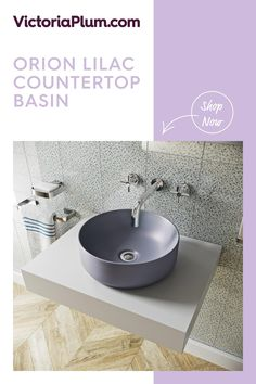 Featuring a beautiful lilac grey glaze, this coloured basin from Mode Bathrooms provides a stunning splash of colour. Stained Concrete Countertops, Grey Countertops, Wall Mounted Basins, Countertop Basin, Bathroom Inspiration, Bathroom Ideas, Lilac Grey, Basin Taps, Countertop Materials