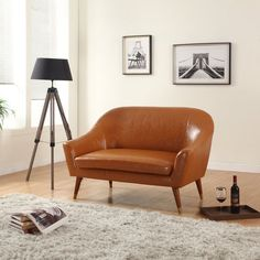 $529.99 Signature Collection Mid Century Modern Bonded Leather Living Room Loveseat