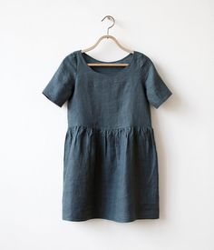 Dusty Teal Linen dress Loose fit s m by CORIUMI on Etsy