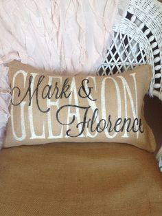 burlap pillow family name pillow custom gift by burlapheartstrings, $29.00 #weddinggift