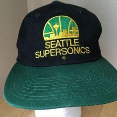 Seattle Supersonics Vintage Snapback Cap Unisex Green Black NBA #SeattleSupersonics