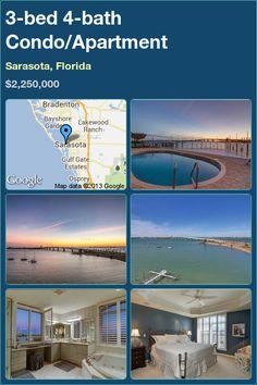 3-bed 4-bath Condo/Apartment in Sarasota, Florida ►$2,250,000 #PropertyForSale #RealEstate #Florida http://florida-magic.com/properties/4885-condo-apartment-for-sale-in-sarasota-florida-with-3-bedroom-4-bathroom