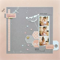 Beautiful and muted scrapbook layout. This design would be a wonderful ballerina layout. Baby Scrapbook Pages, Scrapbook Journal, Scrapbook Sketches, Scrapbook Page Layouts, Scrapbook Paper Crafts, Scrapbook Albums, Scrapbook Cards, Photo Layouts, Scrapbooking Simple