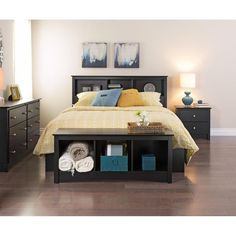Prepac Sonoma Queen 5 Piece Bedroom Set in Black Mudroom Storage Bench, Cubby Bench, Bed Bench, Cubby Storage, Bedroom Storage, Extra Storage, Storage Headboard, Storage Cabinets, Storage Ideas