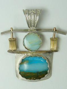 Blue Peruvian Matrix Picture Opal Pendant
