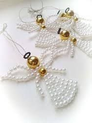 Beautiful hand-beaded angels created with beads and silver colour wire. Angels size Pearl white angel with golden head and waist, brown coronet. Beaded Christmas Decorations, Christmas Angel Ornaments, Beaded Ornaments, Angel Crafts, Christmas Crafts, Christmas Time, Christmas Jewelry, Handmade Christmas, Beaded Angels