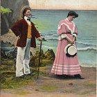 Vintage Postcard Comic Beach Romance Unreturned