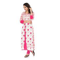 White printed cotton long-kurtis  pink kurtis, pink kurtis online, pink kurtis designs, pink kurtis online shopping