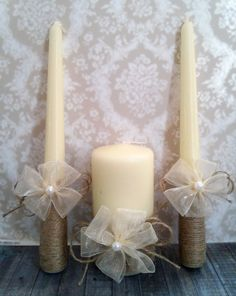 Unity Ivory Candles for Wedding Rustic by TooBeautifulThings