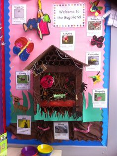 We made an indoor bug hotel for our classroom! The children helped me collect sticks and leaves, they painted me the bug pictures and helped me put the hotel together! Ks1 Classroom, Year 1 Classroom, Classroom Decor, Class Displays, School Displays, Classroom Displays, Minibeasts Eyfs, Display Boards For School, Sustainable Schools