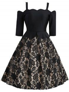 08c3bb02407 Vintage Cold Sholder Peplum Lace Insert Dress - BLACK M Dress Robes