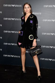 Olivia Culpo attends the Emporio Armani show as part of the Paris Fashion Week Womenswear Spring/Summer 2017  on October 3, 2016 in Paris, France.