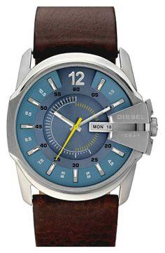 Diesel DIESEL® | 'Master Chief' Leather Strap Watch #diesel #watch