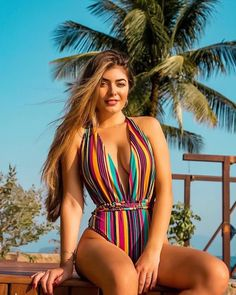 Summer Sexy One-Piece Swimsuit, Deep V-Neck Striped Flower Print Integrated Beach Swimsuit Bikini Bikini Beach, Bikini Girls, Bikini Bottoms, Grey Bikini, Plus Size Bikini, Plus Size Swimsuits, Women Swimsuits, One Piece Swimwear, Bikini Swimsuit