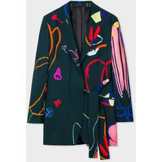 Paul Smith Women's 'Crayon Floral' One-Button Blazer With Belt ($985) ❤ liked on Polyvore featuring outerwear, jackets, blazers, flower print blazer, one-button blazer, blue waist belt, waist belt and paul smith blazer