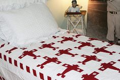 Judi Boisson Airplane Twin Quilt in White / Red