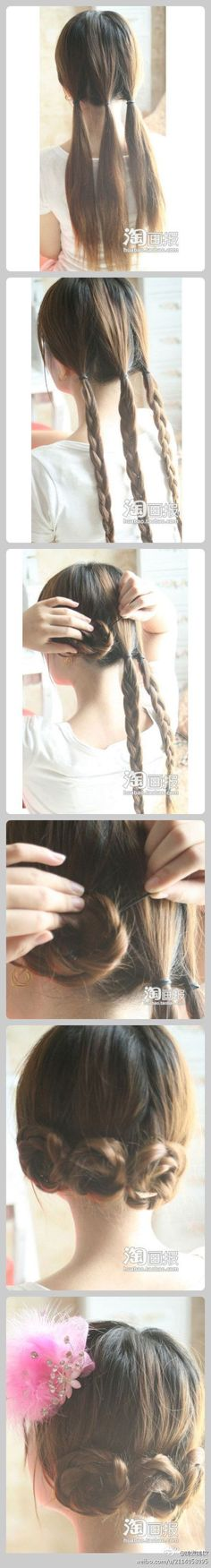 3 rosettes for girls hair. So pretty. I used to do something similar with 2 braids wrapped over each other with my hair. Can't wait for my hair to be long enough to do it again! 5 Minute Hairstyles, Braided Hairstyles, Cool Hairstyles, Easy Little Girl Hairstyles, Hairstyle Ideas, Tips Belleza, Love Hair, Hair Day, Hair Designs