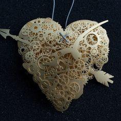 Mechanical Heart Paper Sculptures
