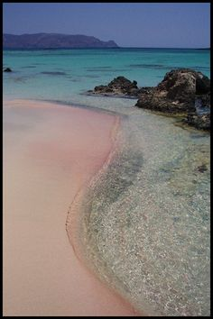 Take this of my bucketlist: Pink coral sand Elafonissi Crete-- we walked out to the little rock island and had breakfast at the local breakfast place overlooking the beach. Beautiful Islands, Beautiful Beaches, Santorini, Greek Island Holidays, Places To Travel, Places To Visit, Crete Island, Greece Holiday, Creta