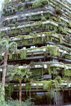 This vertical garden in Barcelona, Spain was commissioned to fill the space left by a dilapidated building. Its structured around a series of steel platforms, each with space for planters, built-in benches and fountains.