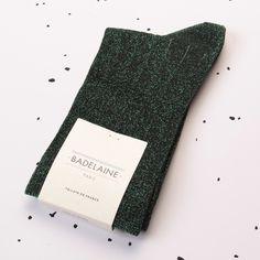 FW14 Aventurine socks - Cedar green #badelaine #paris #socks #chaussettes #lurex #green #sapin # cedar #aventurine #sparkly #madeinfrance