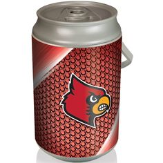 Picnic Time 686-00-000-304-0 Mega University of Louisville Cardinals Digital Print Can Cooler in Silver/Gray