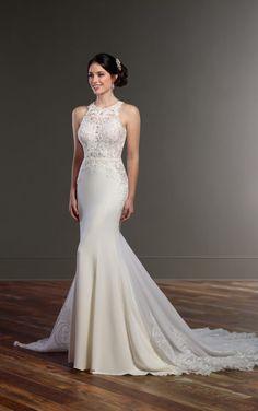 873 Illusion Racerback Wedding Dress with High Neck by Martina Liana