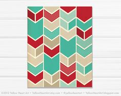 Graphic Fine Art Chevron Geometric Print in Teal by YellowHeartArt, $23.00