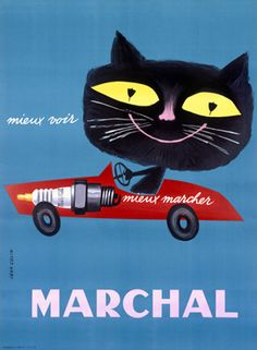 Marchal Vintage Black Cat Spark Plug Ad - Jean Colin, 1950's