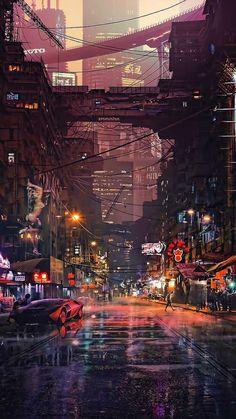Really cool phone wallpaper - Cyberpunk City Street - Cyberpunk City, Ville Cyberpunk, Cyberpunk Kunst, Cyberpunk Aesthetic, Futuristic City, City Aesthetic, Cyberpunk Fashion, Cyberpunk 2077, Futuristic Architecture