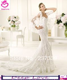 Customized Plus Size 2014 New Design Elie Saab Sexy Backless Sweetheart Lace Mermaid Wedding Dresses With Sleeve Free Shipping US $348.00