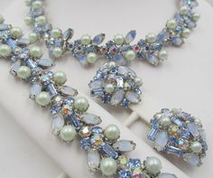 Kramer of New York Blue Faux Pearl and Givre Rhinestone Parure