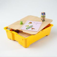 Kids' Storage: Kids' Yellow Storage Play Kit Bin in $25-$50  LOVE it for each kids crafts and papers stack in the closet!