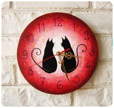 The Love Black Cats Wall Clock Pink by ArtClock on Etsy, $30.00