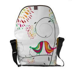 Whimsical Kissing Summer Birds Colorful Cute Bag Courier Bags by fatfatin_box
