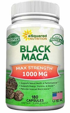 Pure Black Maca Root - 180 Capsules - Max Strength Per Serving - Gelatinized Maca Root Extract Supplement from Peru - Natural Pills to Support Reproductive Health & Energy - Non-GMO Maca Benefits, Health Benefits, Black Maca, Turkey Burger Recipes, Enhancement Pills, Herbal Extracts, How To Increase Energy, Herbal Remedies, Health Remedies