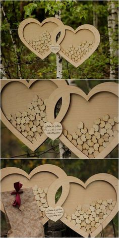 wooden heart wedding guest book / http://www.deerpearlflowers.com/rustic-country-wood-wedding-guest-books/