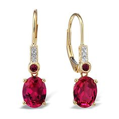 Diamond Classic Jewelry Created Ruby Drop Earrings Filigree Engraving Diamond Accent 10k Yellow Gold White Rhodium Plated Accents