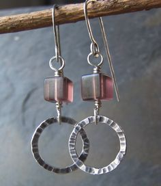Lavender Fluorite  Silver Earrings  handmade by WildCarrotStudio, $40.00