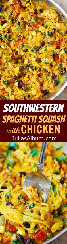 Southwestern Spaghetti Squash with Chicken - perfect Autumn dinner!  Healthy, gluten free recipe.