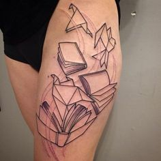 Books with Origami Bids. The true art lovers would definitely love this tattoo. The tattoo depicts the art of paper birds combined with the books, that makes a great piece of tattoo to try.