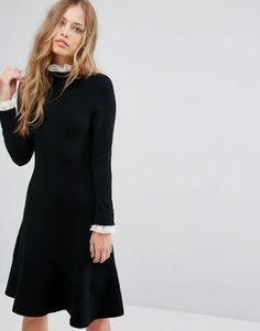 #ASOS - #Suncoo Suncoo Lace Trimmed Black Dress - Black - AdoreWe.com