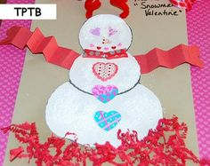 """Valentine Snowman Craft and template to use with the poem """"My Snowman's Valentine."""""""