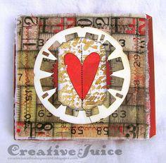 Creative Juice - Compendium of Curiosities 3 Challenge #19 – Frayed Fabric Valentine; Jan 2015