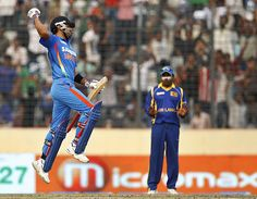 Virat Kohli leaps after completing his century, vs Sri Lanka in Asia Cup, Mirpur, March 13, 2012