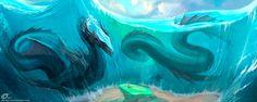 Post with 119 votes and 3400 views. Tagged with dragon, fantasy, digital art, daily dragons; Water Dragon, Sea Dragon, Paint Tool Sai, Cthulhu, Fantasy Creatures, Mythical Creatures, Fantasy World, Fantasy Art, Fantasy Dragon